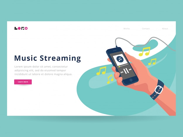 Página de destino do streaming de música