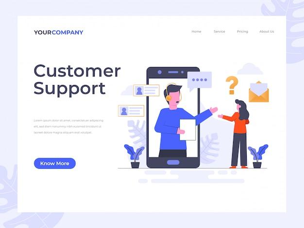 Página de destino do suporte ao cliente