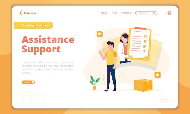Página de destino do suporte de assistência