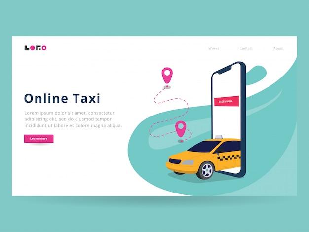 Página de destino do táxi on-line