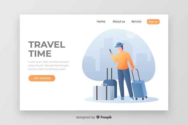 Página de destino do tempo de viagem com ilustração