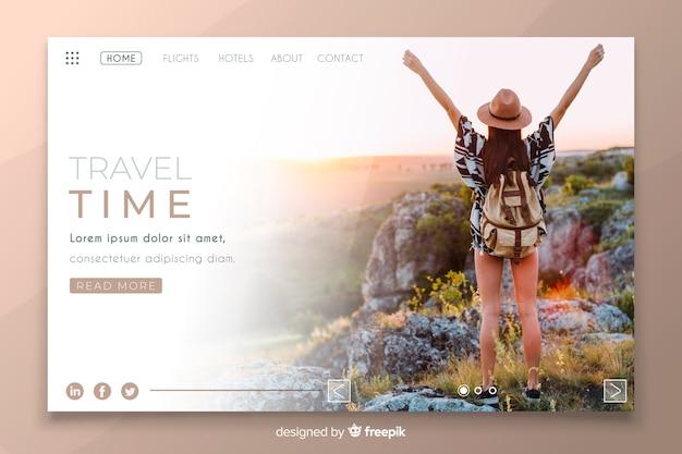Página de destino do tempo de viagem com imagem