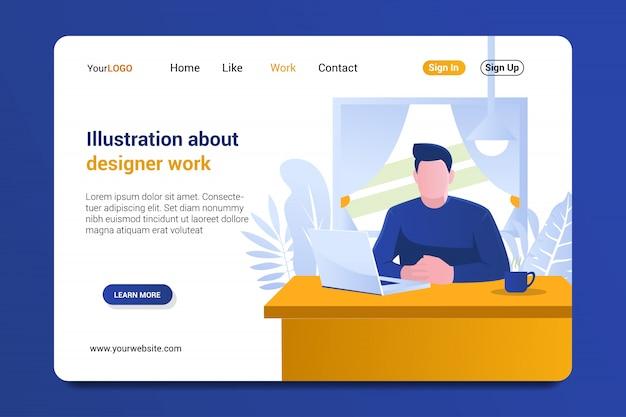 Página de destino do trabalho de designer