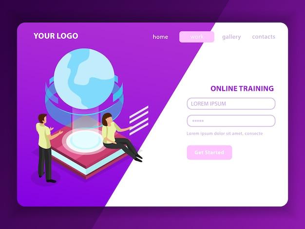 Página de destino do treinamento on-line com personagens masculinas e femininas e ícone do globo de brilho como símbolo de aprendizado sem fronteiras geográficas