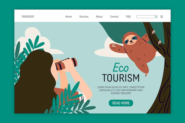Página de destino do turismo ecológico
