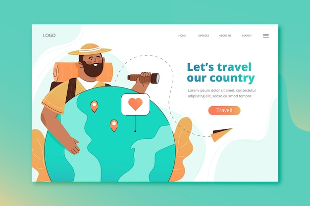 Página de destino do turismo local com ilustrações
