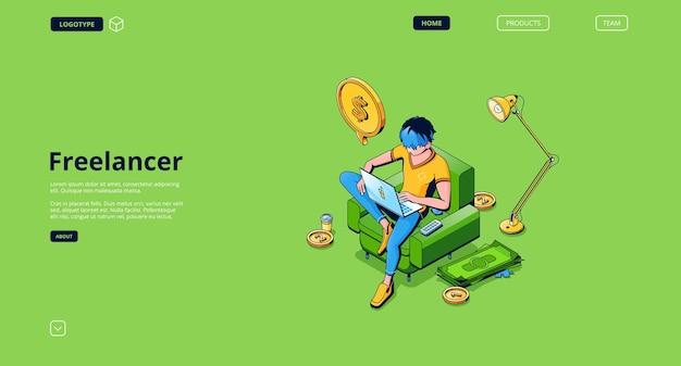 Página de destino do vetor de funcionário remoto freelancer