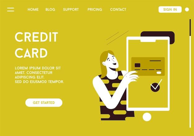 Página de destino do vetor do conceito de cartão de crédito