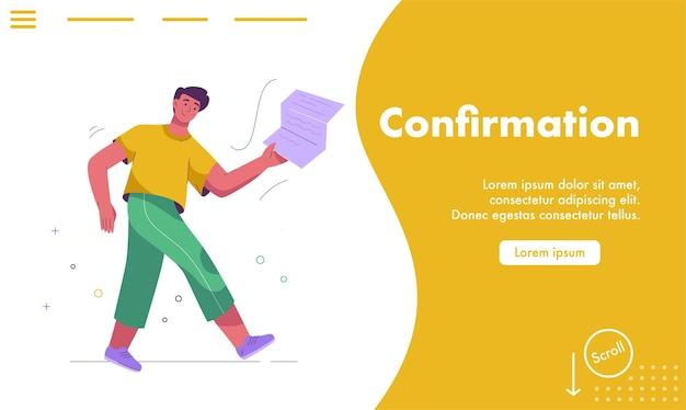 Página de destino do vetor do conceito de confirmação