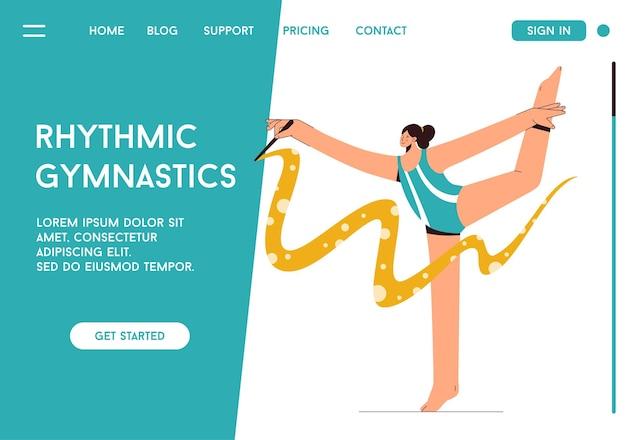 Página de destino do vetor do conceito de ginástica rítmica