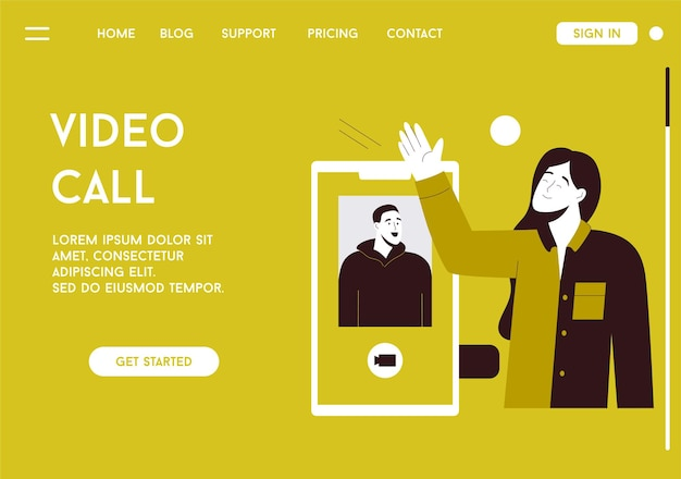 Página de destino do vetor do conceito de videochamada