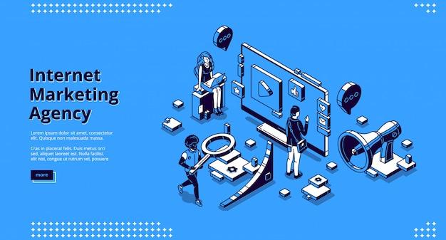 Página de destino do vetor para a agência de marketing na internet