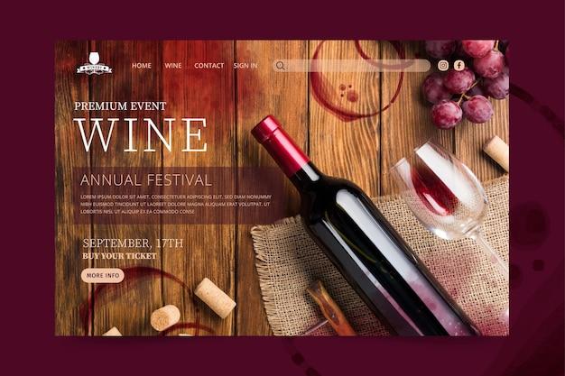 Página de destino do vinho