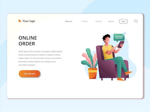 Página de destino do web de ilustração de conceito de pedido on-line