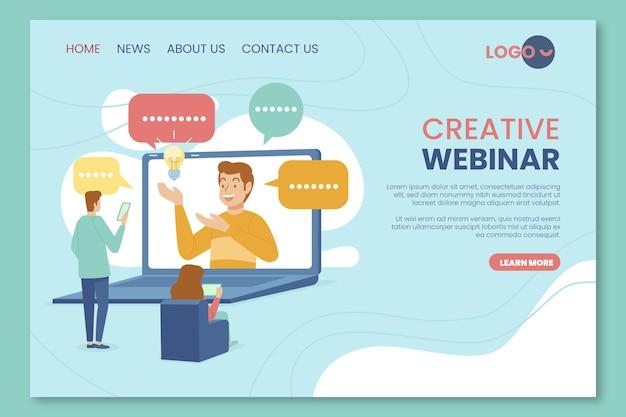 Página de destino do webinar criativo com personagens