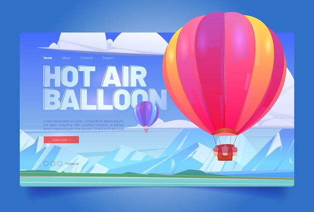 Página de destino dos desenhos animados de voo em balão de ar quente