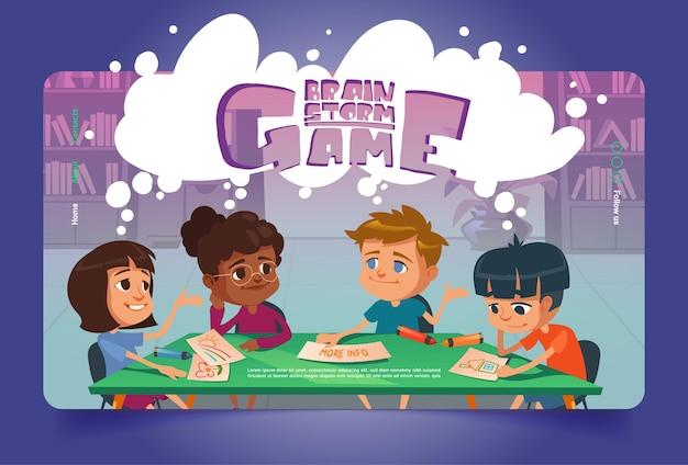 Página de destino dos desenhos animados do jogo de tempestade cerebral jogo de tabuleiro