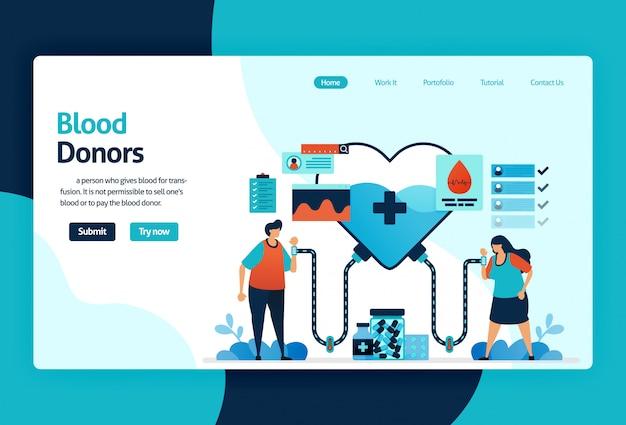 Página de destino dos doadores de sangue