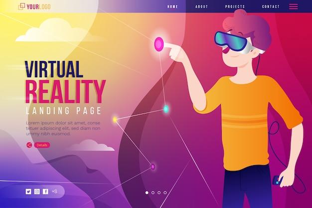 Página de destino dos óculos de fone de ouvido de realidade virtual