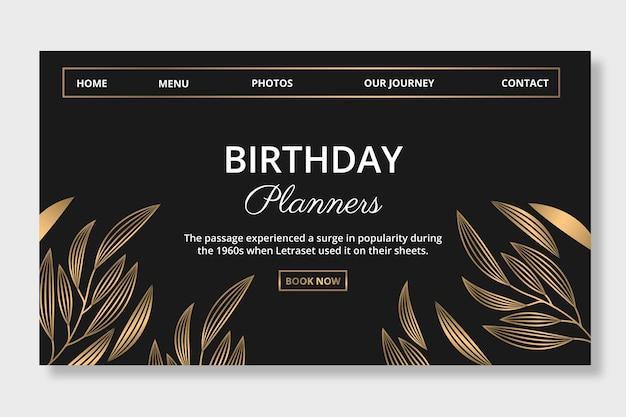 Página de destino dos planejadores de aniversários