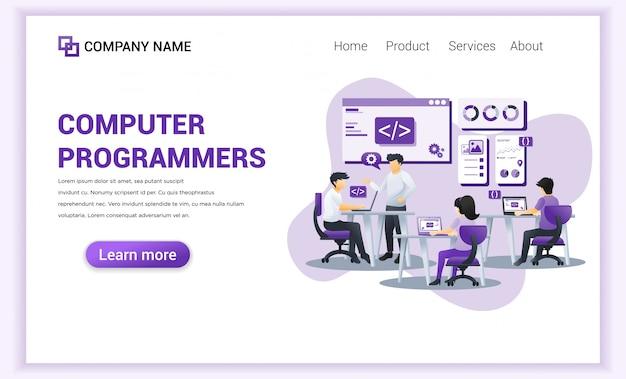 Página de destino dos programadores de computador