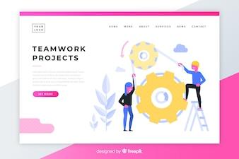 Página de destino dos projetos de trabalho em equipe
