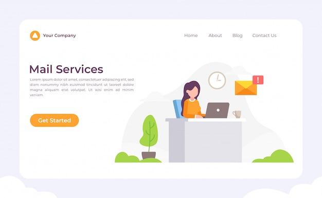Página de destino dos serviços de correio