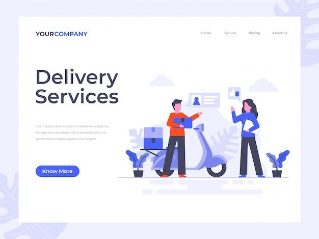 Página de destino dos serviços de entrega