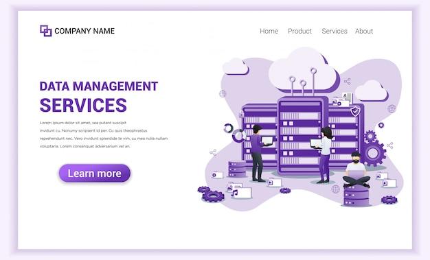 Página de destino dos serviços de gerenciamento de dados