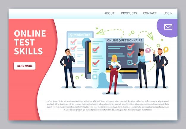 Página de destino dos testes online. pesquisa na internet, formulário de teste de lista de verificação. questionário móvel, avaliação de votação dos clientes