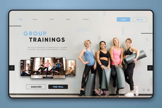 Página de destino dos treinamentos em grupo