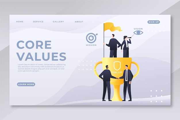 Página de destino dos valores principais do gradiente
