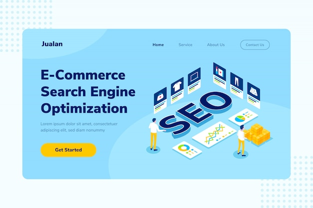 Página de destino e-commerce seo online shopping isometric illustration
