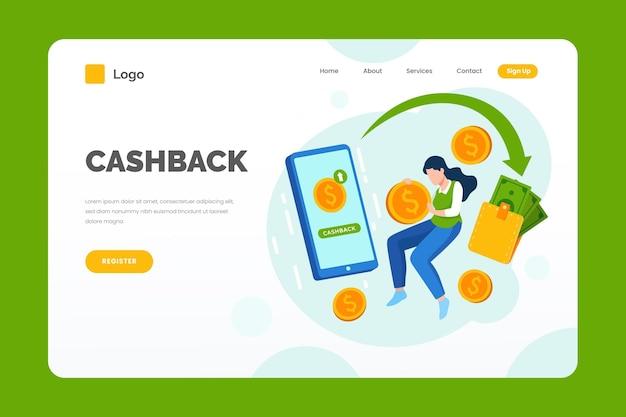 Página de destino e comprador de cashback