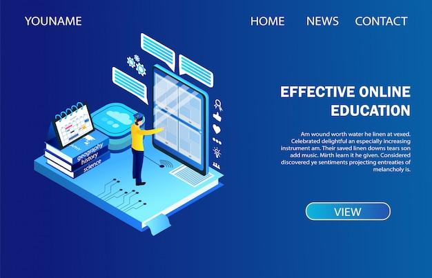 Página de destino. educação online eficaz, ensino à distância
