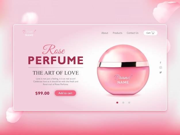 Página de destino elegante do frasco de perfume