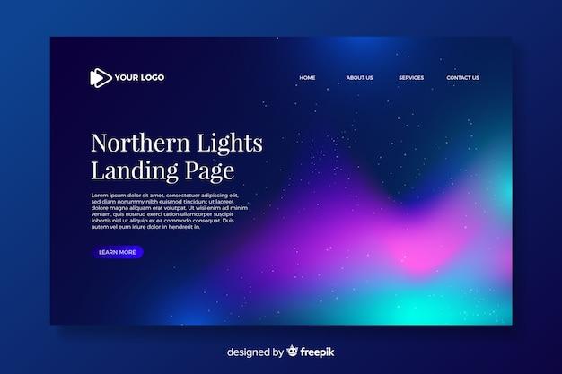 Página de destino encantadora das luzes do norte