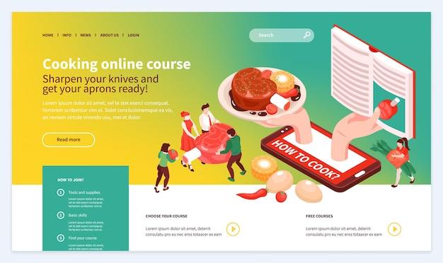 Página de destino escolhendo aulas de masterclass da escola de culinária