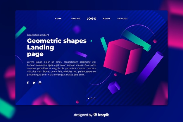 Página de destino escura com formas coloridas geométricas brilhantes