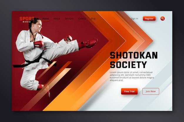 Página de destino esportivo com foto