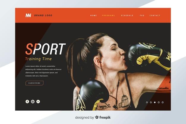 Página de destino esportivo vibrante com foto