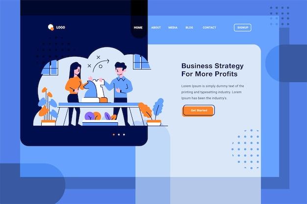 Página de destino estratégia de tática de negócios definindo discussão plana e ilustração de esboço