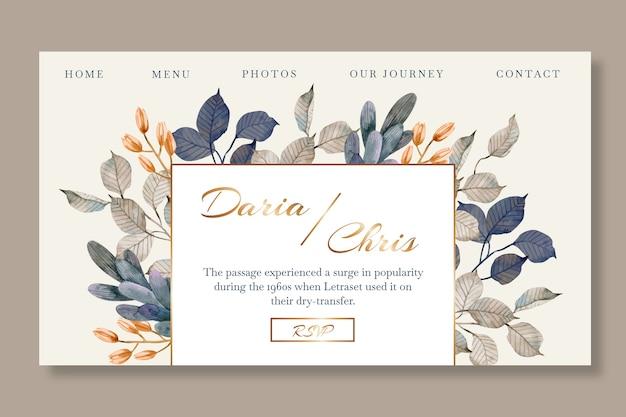 Página de destino floral para casamento