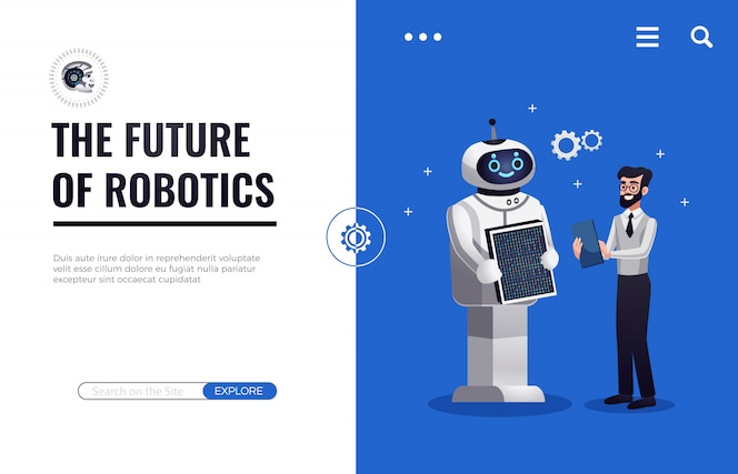 Página de destino futura de robótica