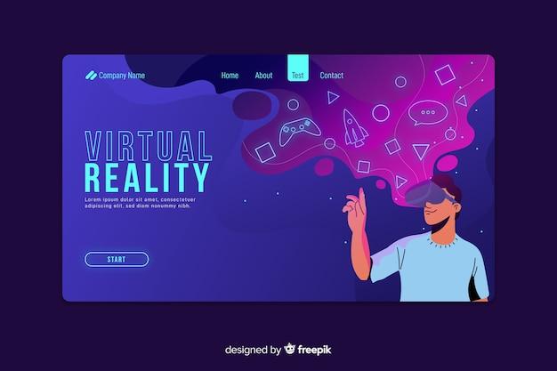 Página de destino futurista de realidade virtual