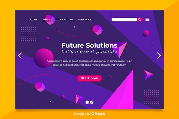 Página de destino geométrica 3d de solução futura