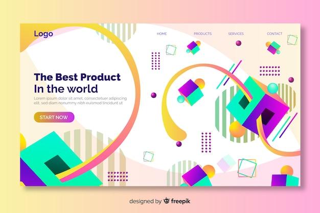 Página de destino geométrica 3d do melhor produto