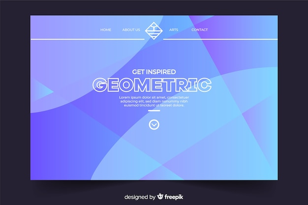 Página de destino geométrica azul mínima