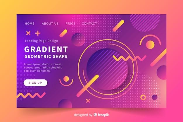 Página de destino geométrica colorida com gradiente