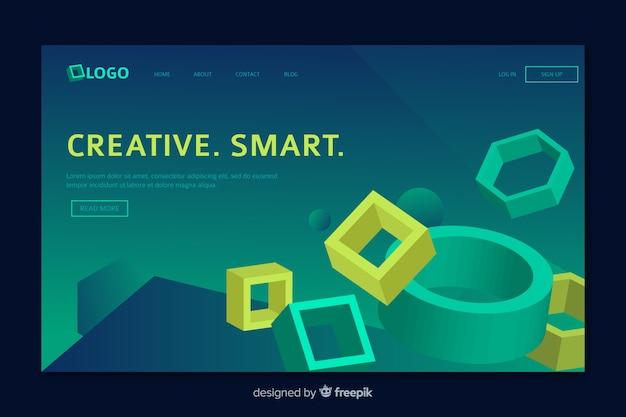Página de destino geométrica com elementos da web